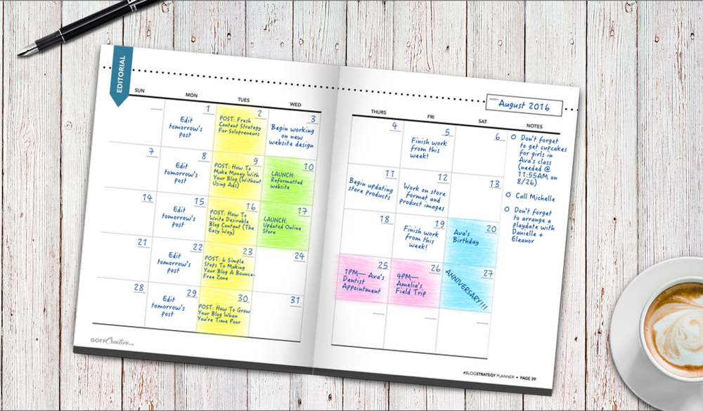 "The ""editorial"" calendar section of the #BlogStrategy Planner 