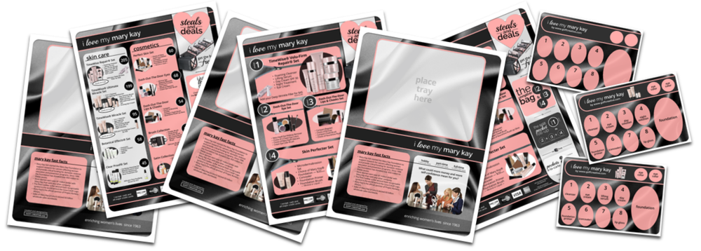 The Mary Kay Party & Marketing Bundle's placemats and tray inserts | GoffCreative.com