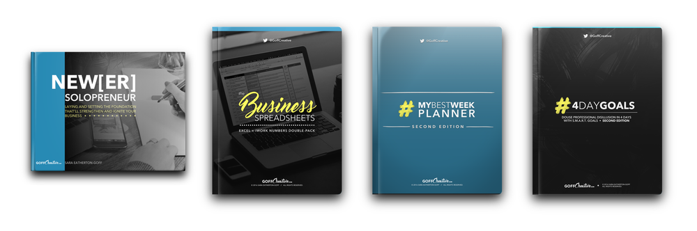 The Ultimate Business Bundle | New[er] Solopreneur Handbook, The Business Spreadsheets Pack, #MyBestWeek Planner, and #4DayGoals | GoffCreative.com