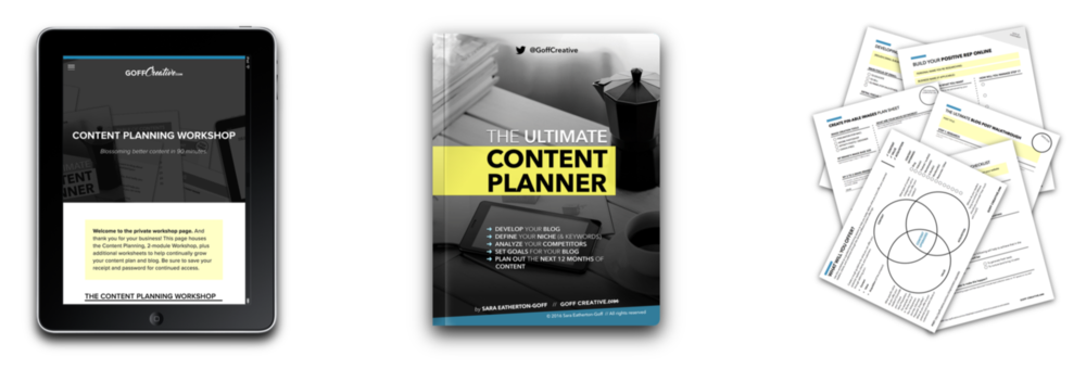 The Content Planning Workshop: 90-minute, 2-module videos, the 45-page Content Planner, and 6 bonus content maintenance worksheets | GoffCreative.com