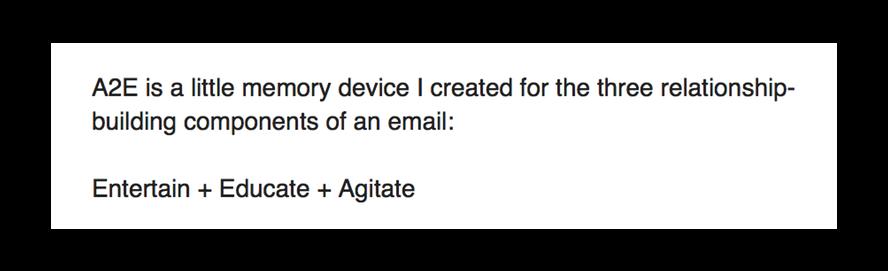 Screenshot from Josh Earl's A2E (Entertain + Educate + Agitate) Method email.