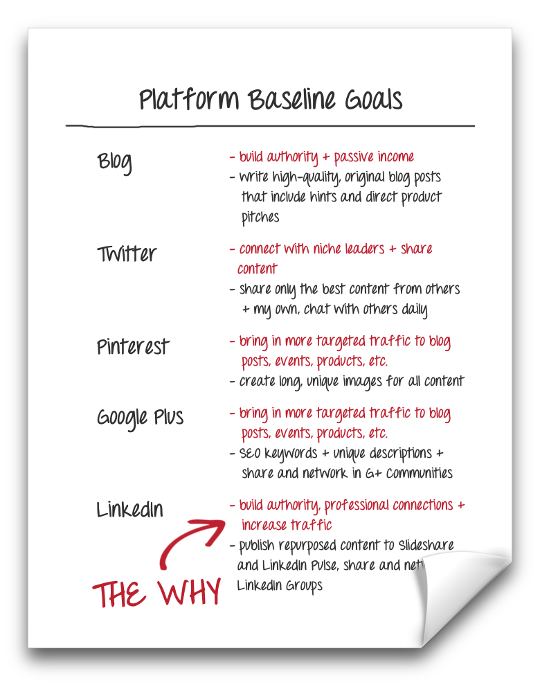 """The Why"" to your platforms's baseline goals 