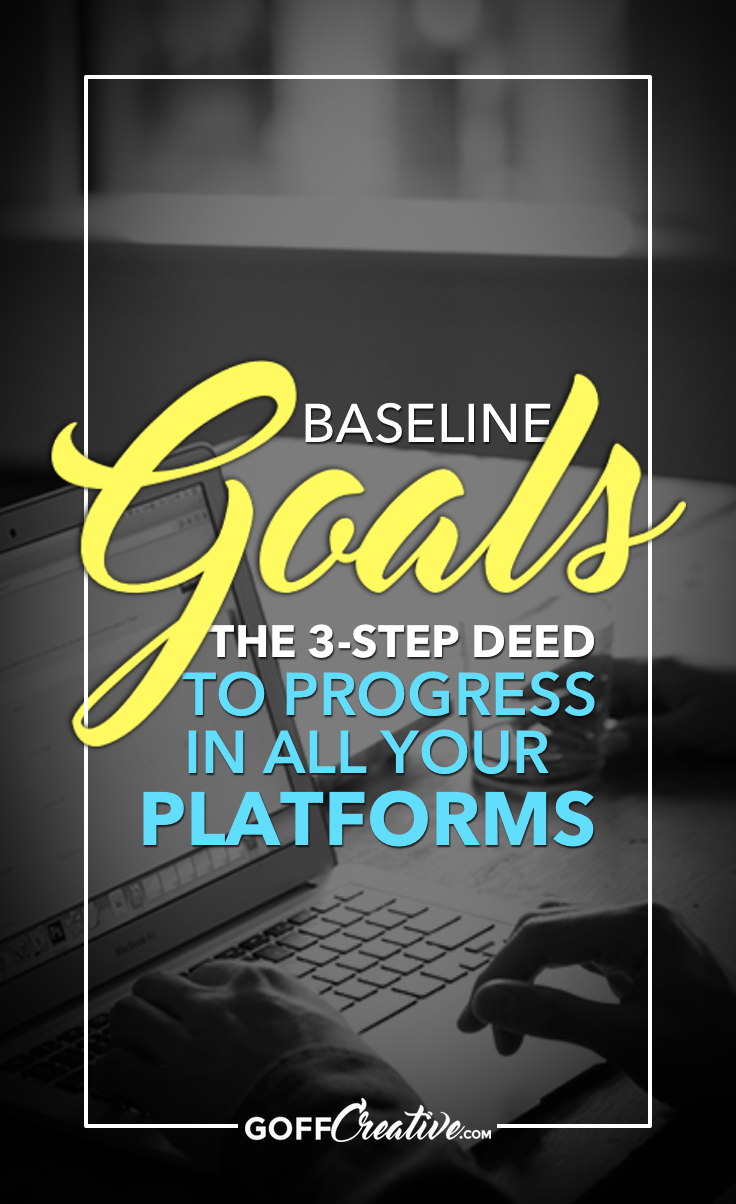 "What are your goals and objectives for all your platforms? I know you've got a goal or two in mind for your business, but what about your platforms—your blog, social media accounts, etc.? Click through to get the skinny on what I like to call ""baseline goals"", or Save this for later!"