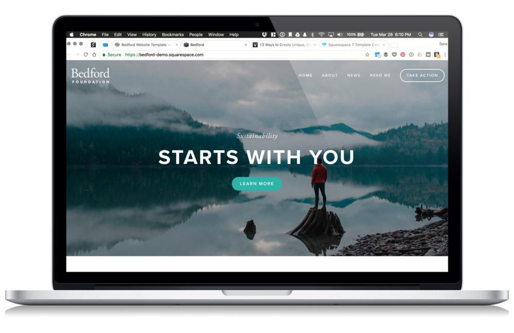 Example of the Squarespace 7 Template: Bedford (overview by Sara Eatherton-Goff of GoffCreative.com)