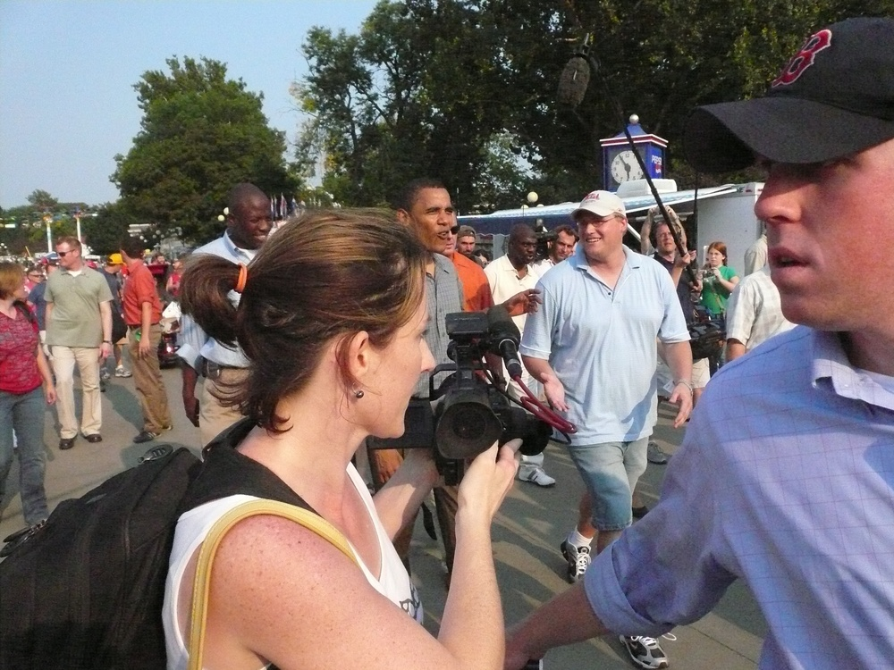Fliming Barack Obama at the Iowa State Fair in August 2007.