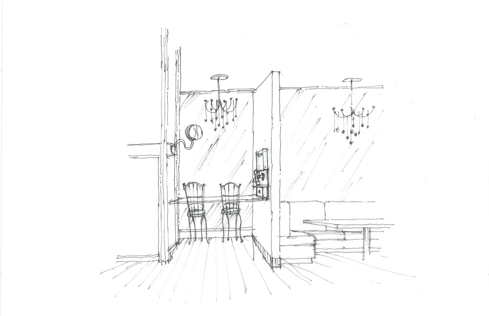 Initial sketch of Tarbell's phone booth/podcasting area.