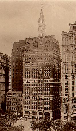 The original New York Tribune Building. Built in 1875 and demolished in 1966 to make room for Pace Plaza.