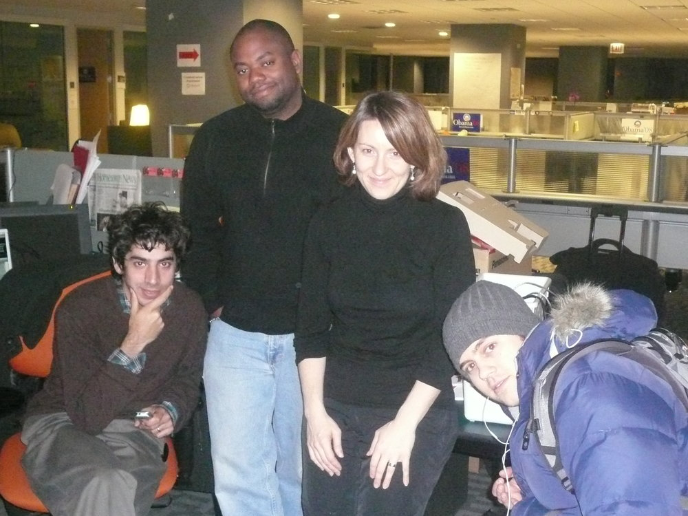 The early days of the campaign. From left to right: Arun Chaudhary, Chris Northcross, Kate Albright-Hanna, Sam Graham-Felsen.