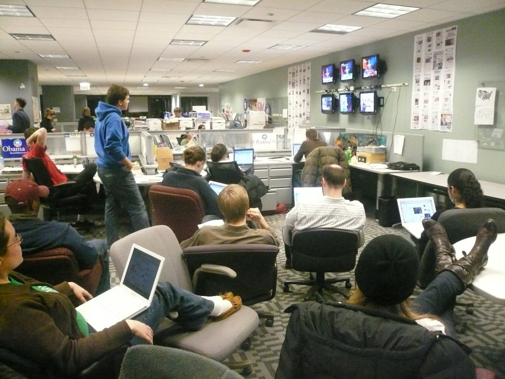The new media team watching the results come in during the primary.