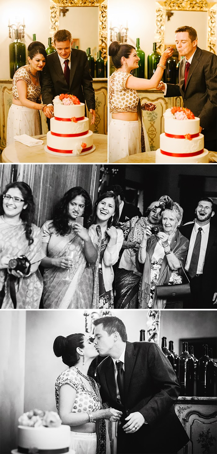 San Martin wedding reception cake cutting Clos LaChance Winery