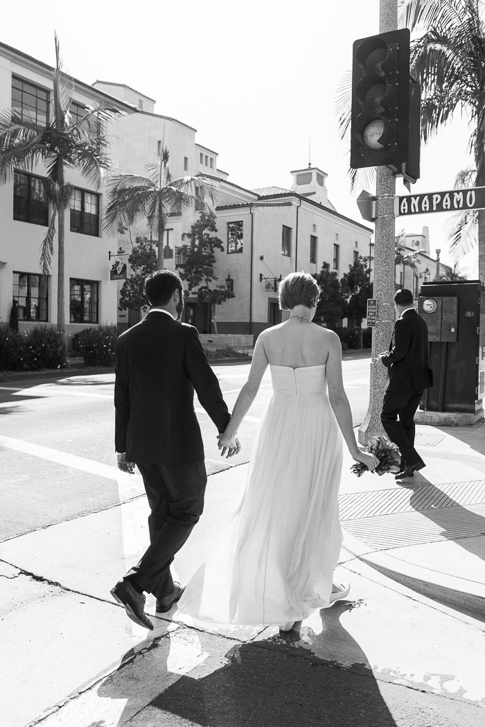 Santa Barbara wedding State Street walk