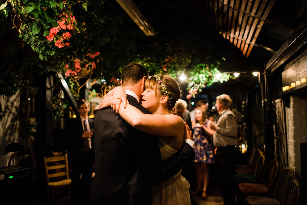 Wedding couple first dance at Pelican Inn Muir Beach