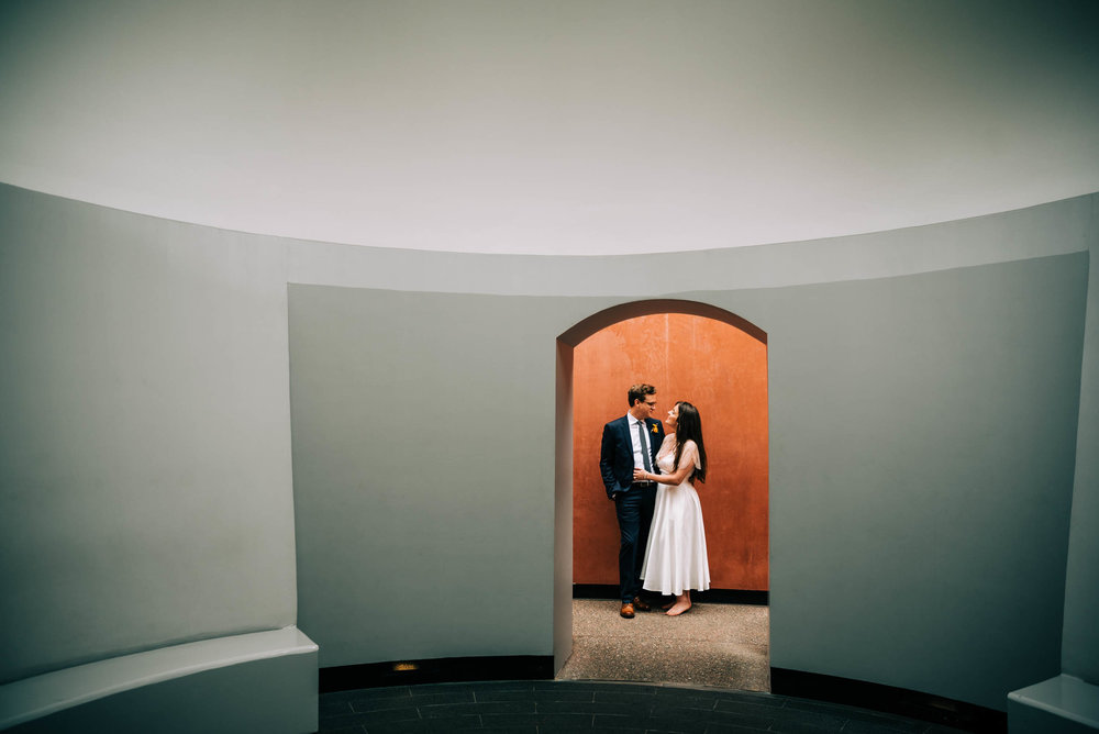 Bride and groom portrait at Three Gems James Turrell