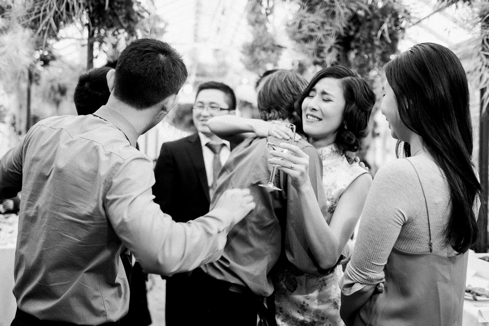 Candid moment bride hug