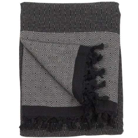 Blanket - Lined Diamond - Black Silver - $110