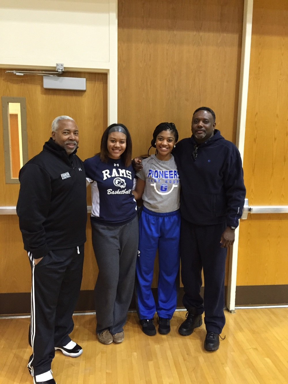 Coach Wiley, Jasmine Howard, Kayla Tibbs, Coach Jett  These Coaches can always be seen in the college stands of Axiom Elite Alumni.