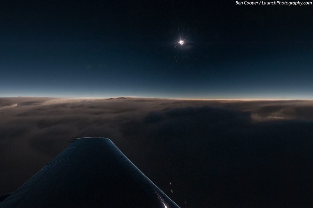 The instant of total eclipse taken in a jet aircraft over the Atlantic Ocean by Ben Cooper