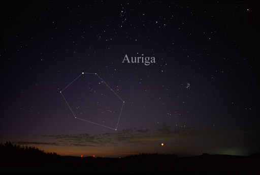 Capella in the constellation Auriga. Credit: Wikipedia CC.
