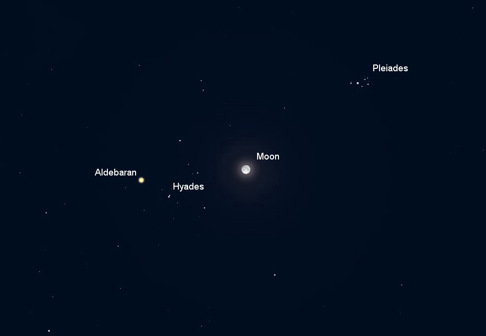 The November full Moon is found in Taurus, near 1st-magnitude star Aldebaran. Courtesy Skynews.ca