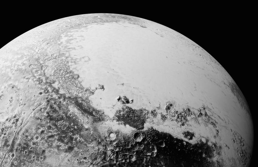 This synthetic perspective view of Pluto, based on the latest high-resolution images to be downlinked from NASA's New Horizons spacecraft, shows what you would see if you were approximately 1,100 miles (1,800 kilometers) above Pluto's equatorial area, looking northeast over the dark, cratered, informally named Cthulhu Regio toward the bright, smooth, expanse of icy plains informally called Sputnik Planum. The entire expanse of terrain seen in this image is 1,100 miles (1,800 kilometers) across. The images were taken as New Horizons flew past Pluto on July 14, 2015, from a distance of 50,000 miles (80,000 kilometers).