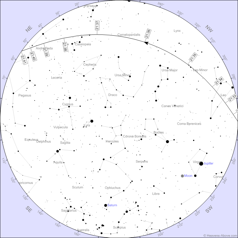 The International Space Station will be visible low in the north at 9:36