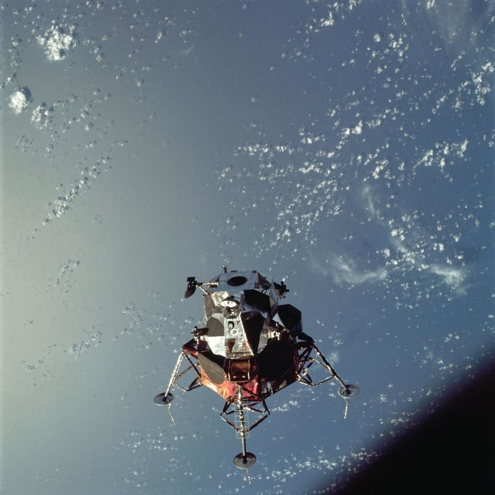 Apollo 9 lunar module Spider in Earth orbit.