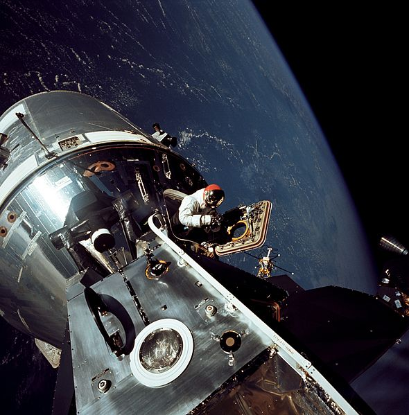 Apollo 9 astronaut David Scott in the open hatch of the Command Module Gumdrop