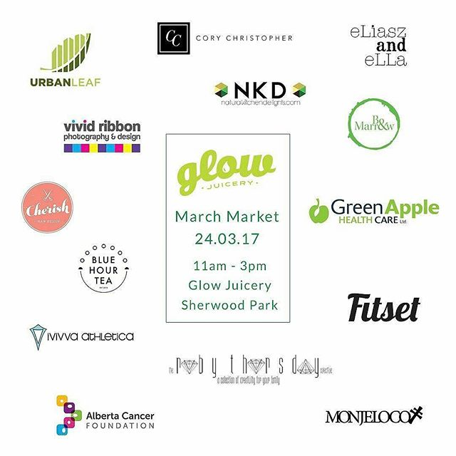 One week until the Spring Pop-Up hosted by Glow Juicery,  featuring #YEG finest local business!  Friday, March 24 from 11 AM - 3 PM! @corychristopher @boandmarrow @natural_kitchen_delights @monjelocojeans @ivivva_southgate @cherishhairdesign @fitsetpass @eliaszandellajewelry + MUCH MORE! 📷 @glowjuicery