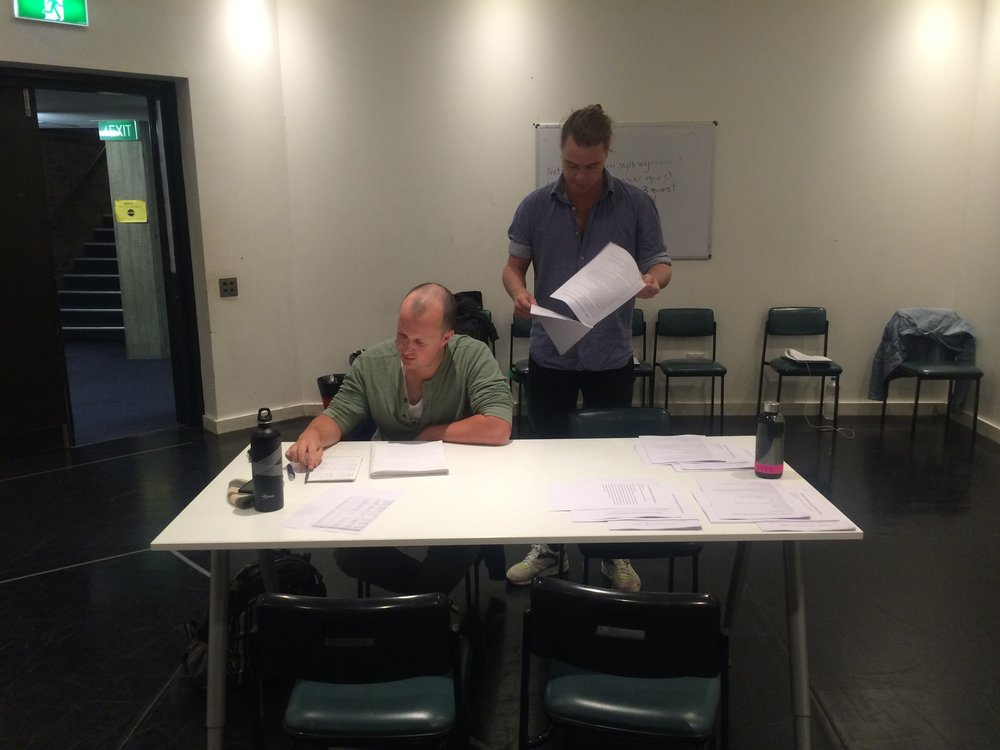 Director RIchard Cornally and reader Alex Shore prepare for auditions