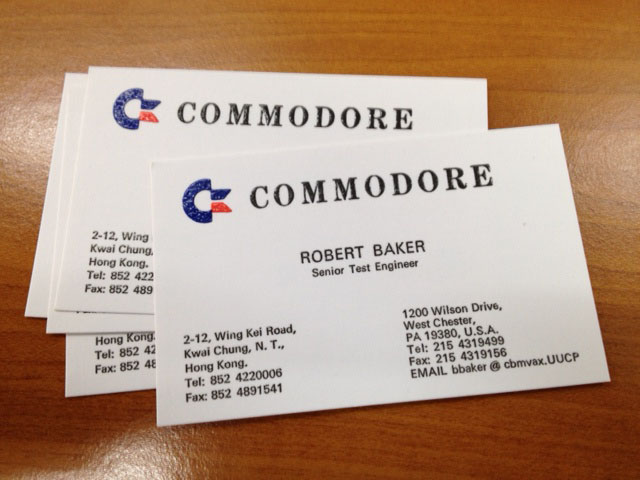 Lost treasures the commodore production line in hong kong dustlayer luckily i also got my hands on some of roberts original business cards as well c64 enthusiasts look at the cool fax number all others note how the colourmoves