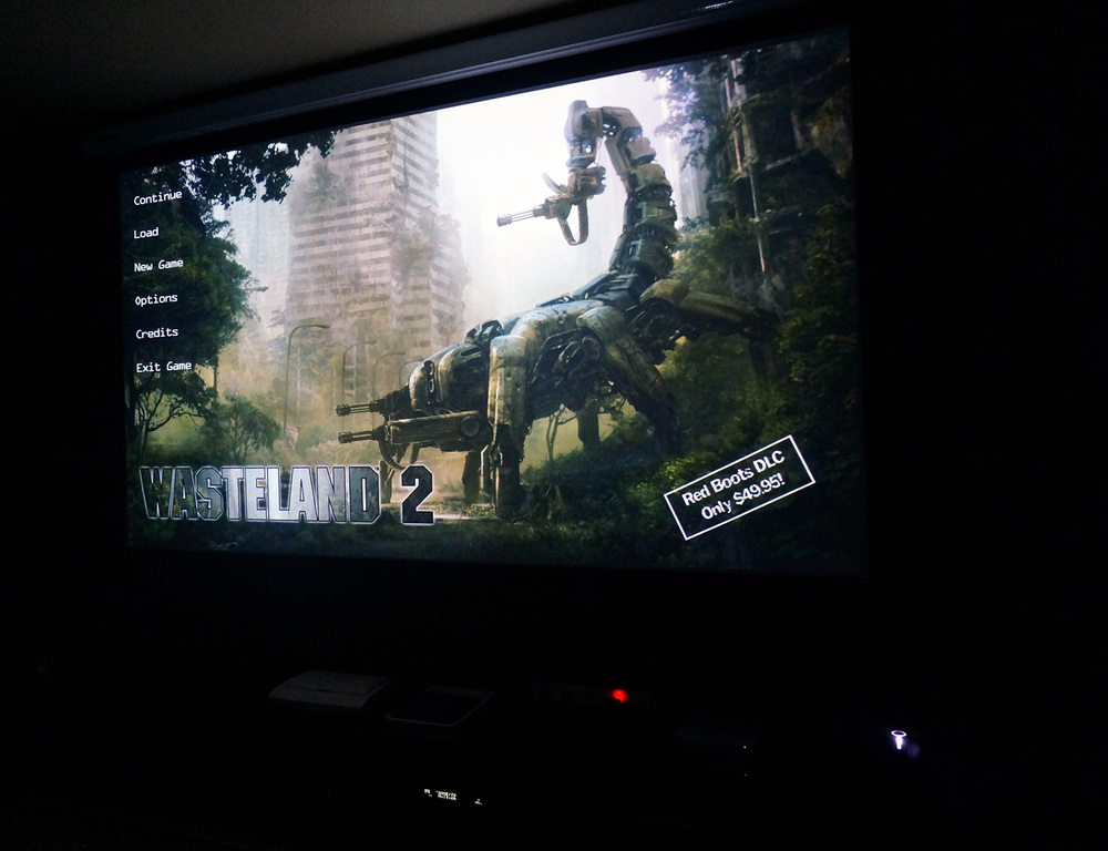 26 years later - Wasteland 2 in 1080p beamed to my basement's screen.