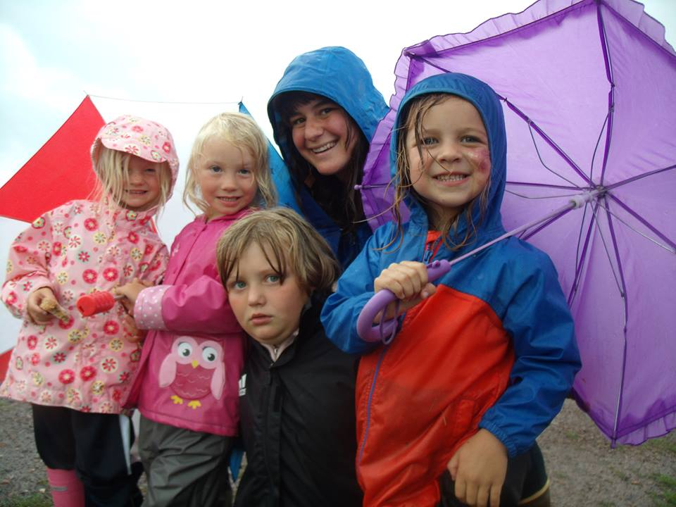 With some the Community Roots Children Space kids ready for puddles!