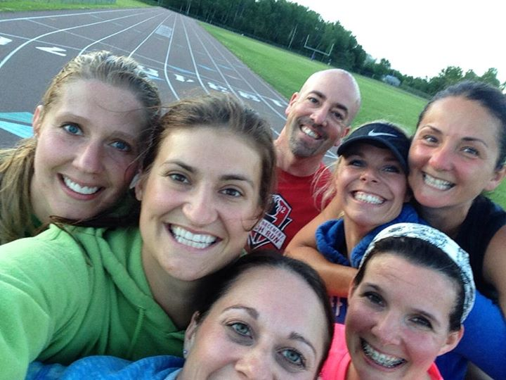 """Steph (far left) with fellow Spot members during the 2014 Rogue Runners """"Torture Tuesday"""" speed workouts at the track."""