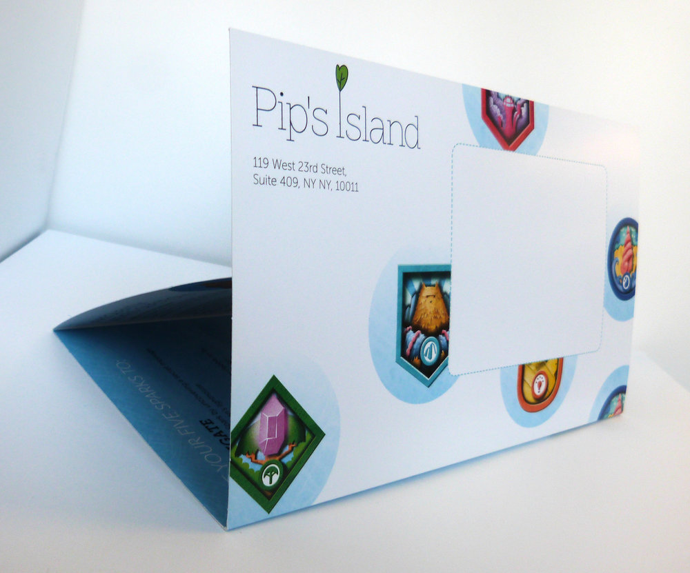 Custom die-cut mailer and promotional materials for  Pip's Island , NYC