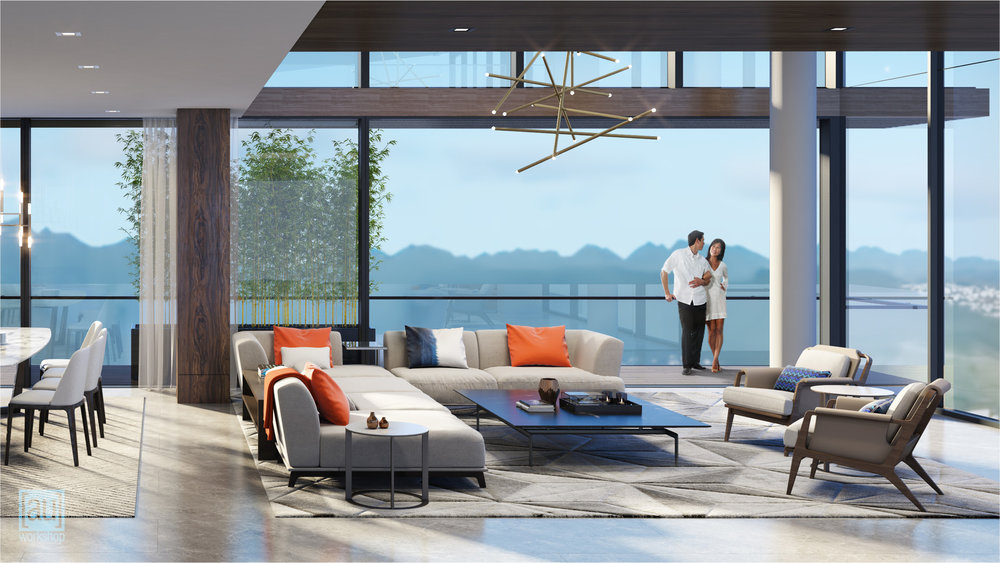 Mauka Penthouse Living Area