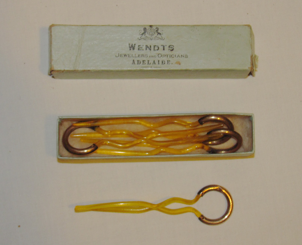 """Acquired after asking """"Can I have this, Grandma?"""" Object: Curling pins in jewelry box Size: 1""""x4"""" Age When Given: 12"""