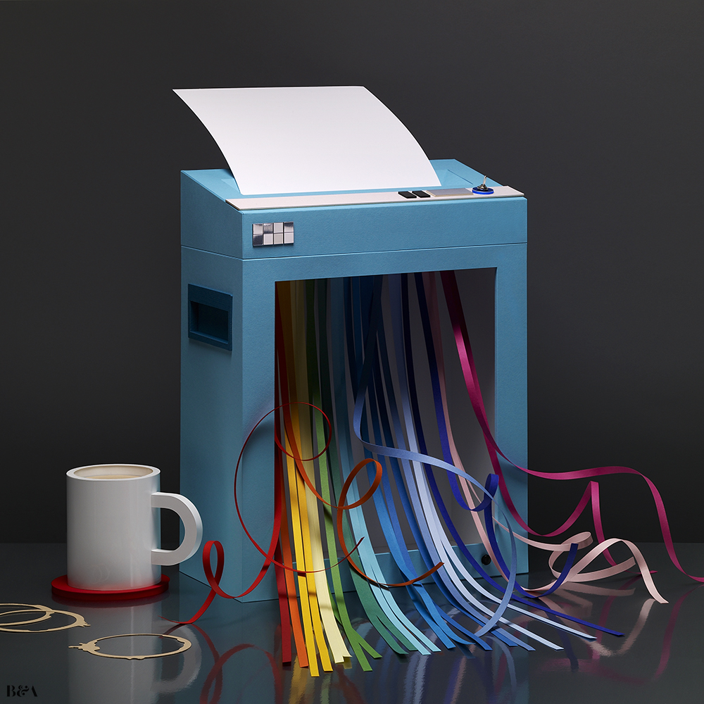 bareps-eu: Paper shredder made of paper by Chrissie Macdonald