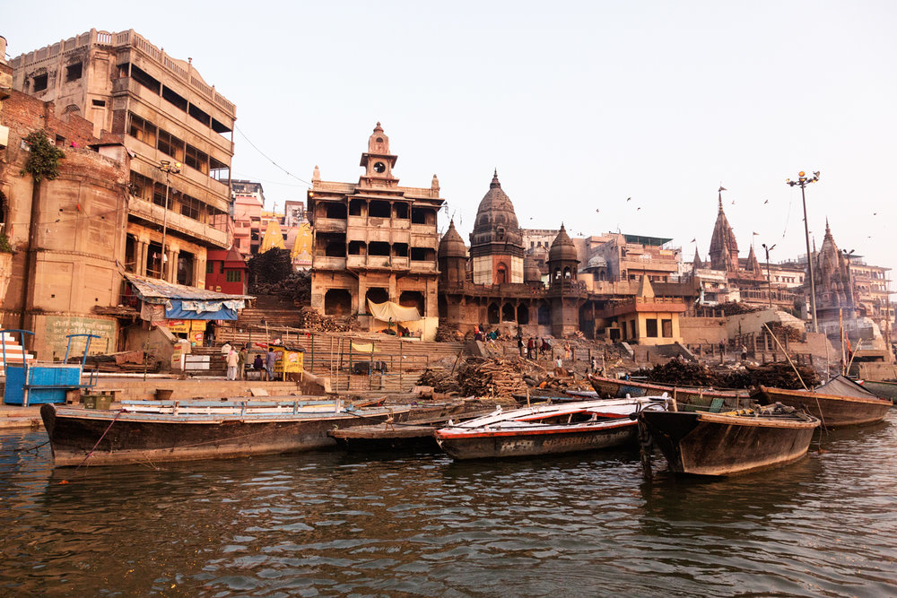 Manikarnika Ghat, one of the oldest and most sacred cremation sites in Varanasi, Uttar Pradesh India