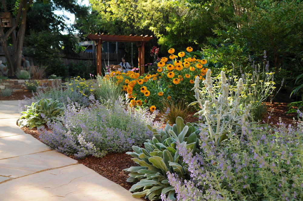 Pollinator Garden with dry-layed flagstone  Design and construction: Doniel Ellis Designs