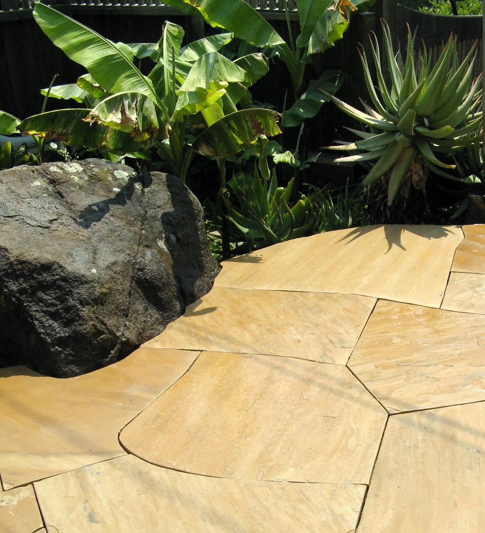 Custom flagstone patio, detail.
