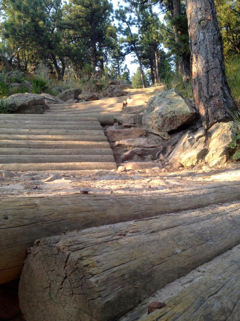 Unique trail work to aid mountain bikes through the steepest sections of the Dakota Ridge