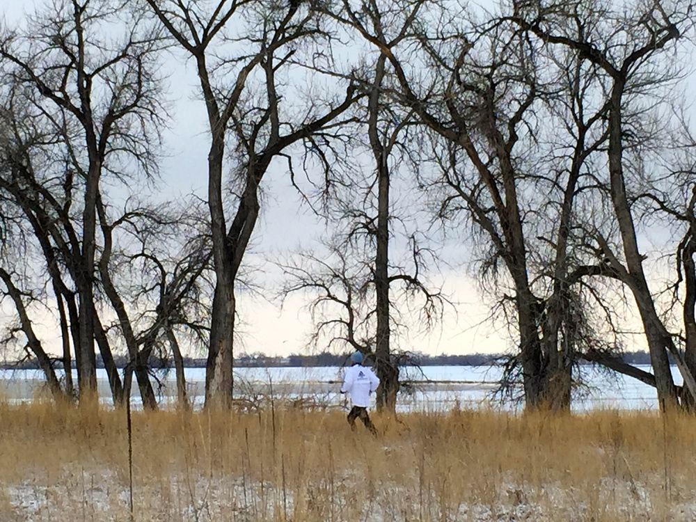 Taylor running below the cottonwoods
