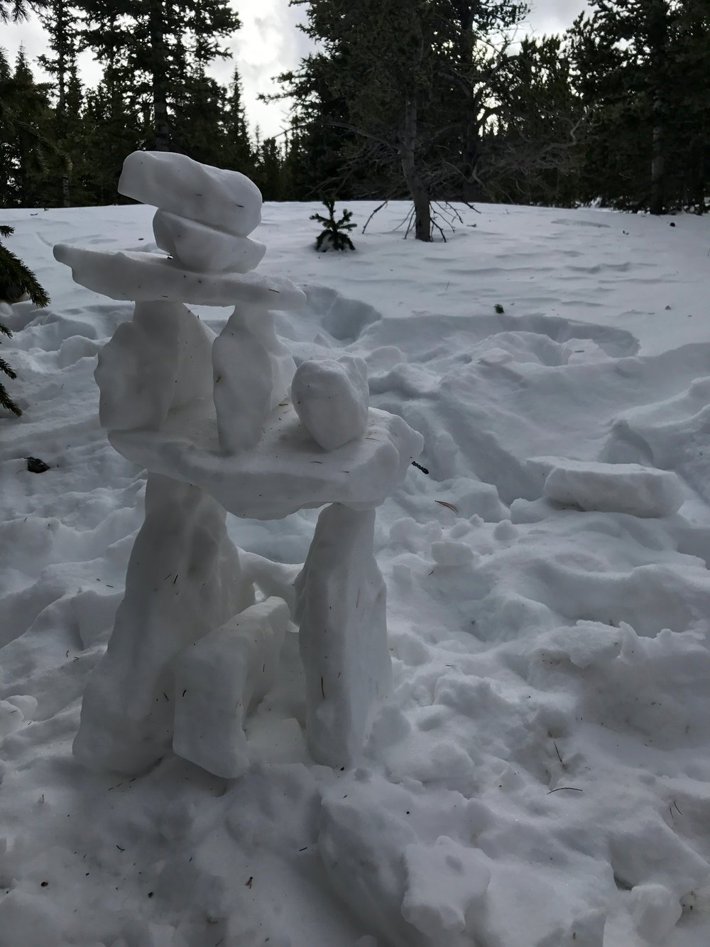 Snow sculpture along the trail.