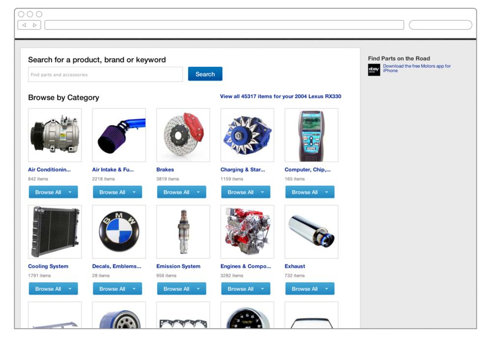 Members can easily browse eBay to find parts for the vehicle, by category