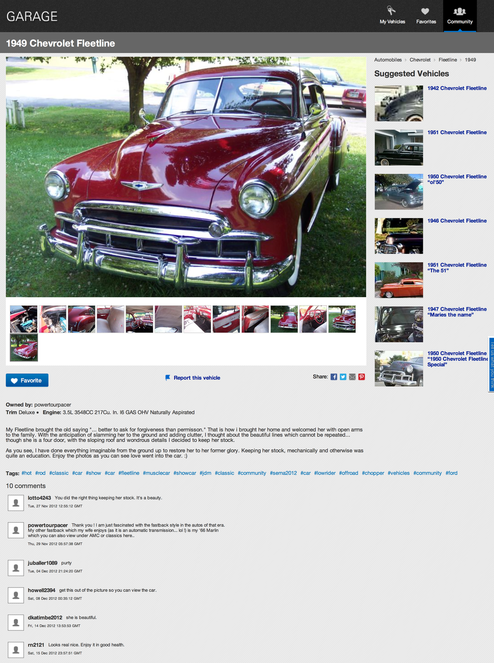 A vehicle profile on eBay Garage
