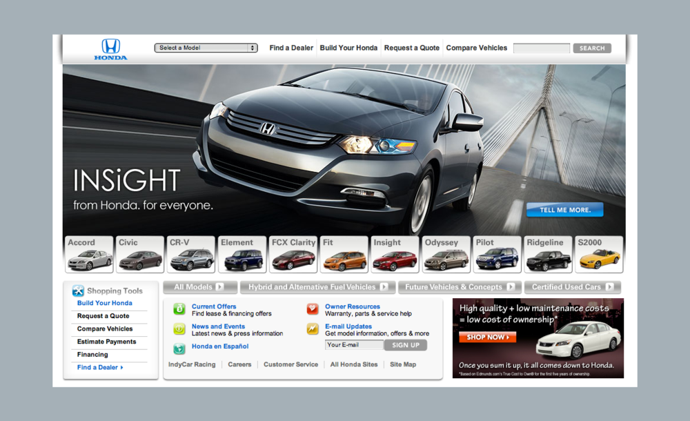 Honda Automobiles Website