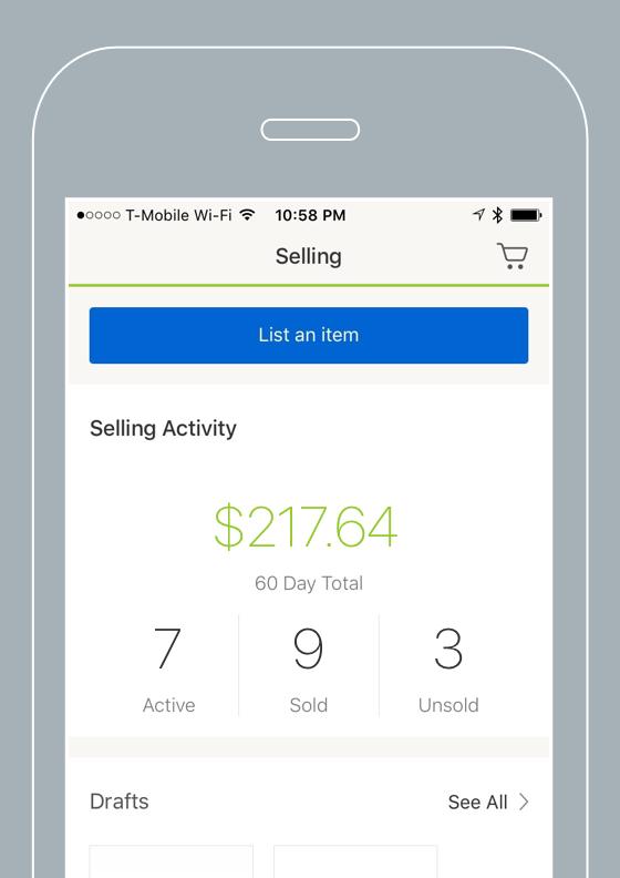 Selling experience,eBay App 5.0