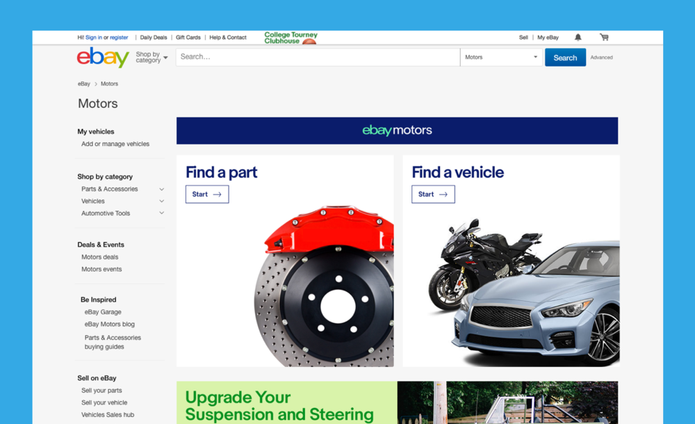 eBay Motors Home Page
