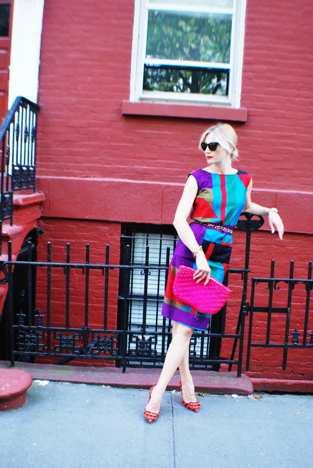 Dress, made by me; Belt, Gap; Shoes, J. Crew (Old); Bag, Vintage; Glasses, RAEN; Lipstick, MAC Russian Red
