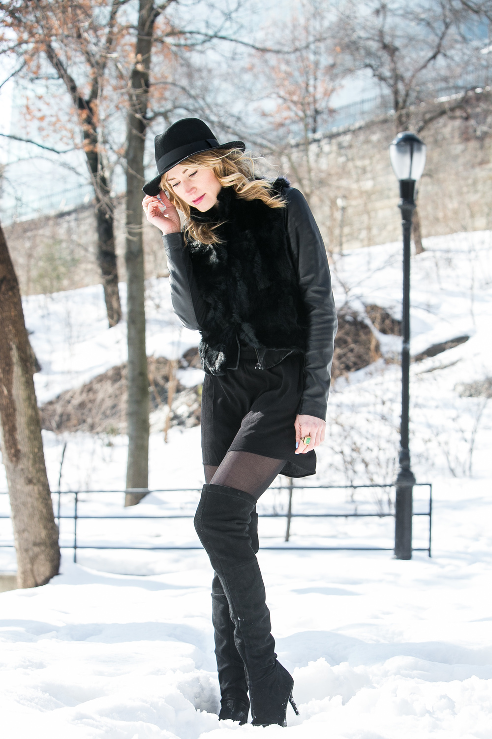 Hat,  TopShop ; Dress,  H&M ; Vest,  Rebecca Minkoff ; Jacket,  Paige Denim ; Boots, Zara (old)  Photos By  Phillip Van Nostrand